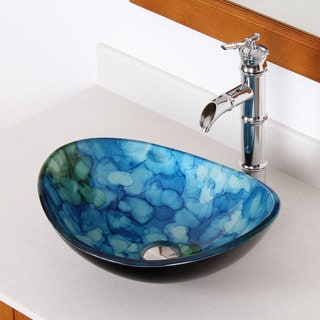 Elite Unique Oval Tempered Glass Bathroom Vessel Sink