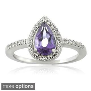 Glitzy Rocks Sterling Silver Gemstone and Cubic Zirconia Teardrop Ring