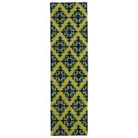 Runway Navy/ Gold Damask Hand-tufted Wool Rug (2'3' x 8')