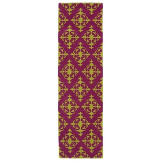 Runway Pink/ Gold Damask Hand-tufted Wool Rug (2'3' x 8')