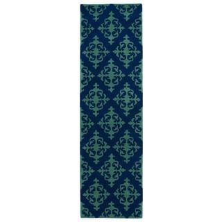 Runway Navy/ Emerald Damask Hand-tufted Wool Rug (2'3' x 8')