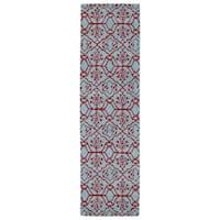 Runway Pink/ Blue Hand-tufted Wool Rug (2'3' x 8')