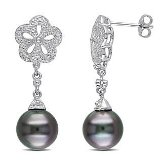 Miadora Sterling Silver Tahitian Pearl and Diamond Earrings (9.5-10 mm)