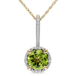 Miadora 10k Yellow Gold 1 1/2ct TGW Peridot and Diamond Accent Necklace