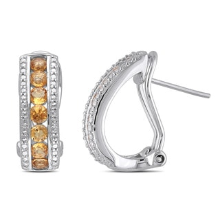 Miadora Sterling Silver 1 1/2ct TGW Citrine Earrings