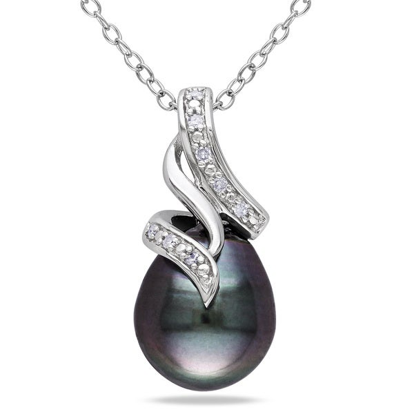 Miadora Sterling Silver Tahitian Pearl and Diamond Twist Drop Necklace (9-9.5 mm)