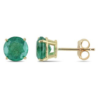 Miadora 10k Yellow Gold 1 5/8ct TGW Emerald Solitaire Earrings