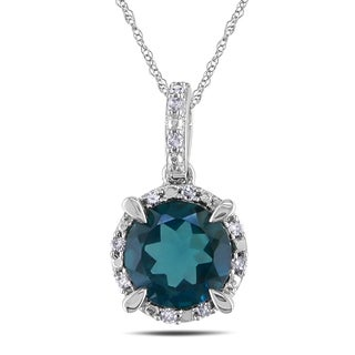 Miadora 10k White Gold 1 3/5ct TGW Blue Topaz and Diamond Accent Necklace