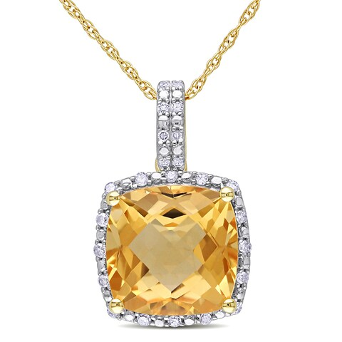 Miadora 10k Yellow Gold Cushion-cut Citrine and 1/10ct TDW Diamond Halo Drop Necklace (G-H, I2-I3)