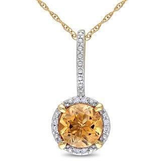 Miadora 10k Yellow Gold 1 1/4ct TGW Citrine and Diamond Accent Halo Necklace