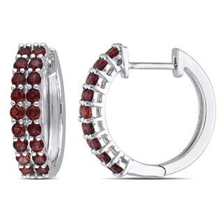 Miadora Sterling Silver 1 1/10ct TGW Garnet Hoop Earrings