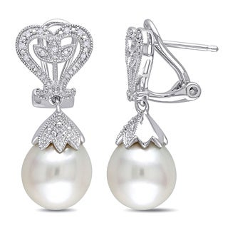 Miadora Sterling Silver White Pearl and Diamond Accent Dangle Earrings (10-10.5 mm)