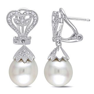 Miadora Sterling Silver White Pearl and Diamond Accent Dangle Earrings (10-10.5 mm)|https://ak1.ostkcdn.com/images/products/9108562/Miadora-Sterling-Silver-White-Pearl-and-Diamond-Accent-Dangle-Earrings-10-10.5-mm-P16294843.jpg?impolicy=medium