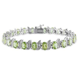 Miadora Sterling Silver 11 3/4ct TGW Peridot and Diamond Bracelet
