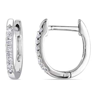 Miadora 10k White Gold 1/10ct TDW Diamond Hoop Earrings|https://ak1.ostkcdn.com/images/products/9108573/Miadora-10k-White-Gold-1-10ct-TDW-Diamond-Cuff-Earrings-G-H-I1-I2-P16294806.jpg?impolicy=medium