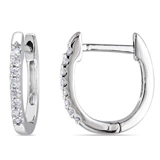 Miadora 10k White Gold 1/10ct TDW Diamond Hoop Earrings