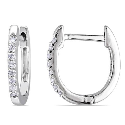 10k White Gold 1/10ct TDW Diamond Huggie Hoop Earrings by Miadora - 12.7 mm x 1.5 mm x 11.5 mm