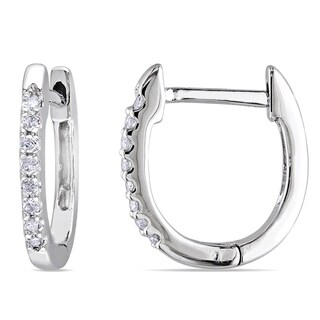 10k White Gold 1/10ct TDW Diamond Huggie Hoop Earrings by Miadora - 12.7 mm x 1.5 mm x 11.5 mm