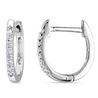 Miadora 10k White Gold 1/10ct TDW Diamond Huggie Hoop Earrings
