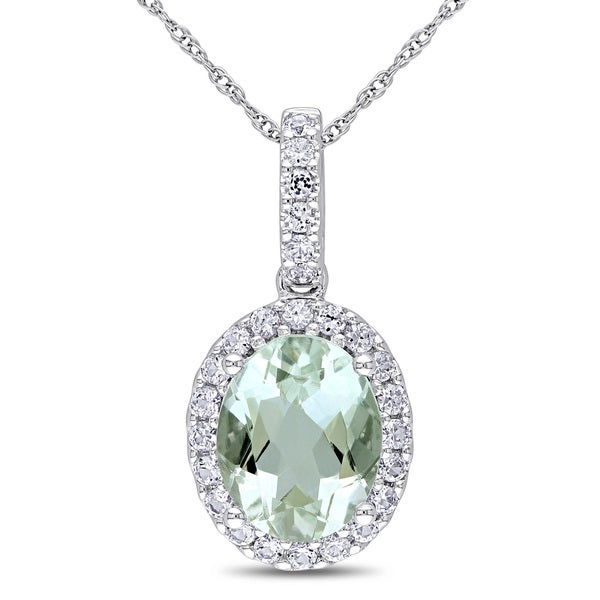 Miadora 10k White Gold Green Amethyst and Created White Sapphire Necklace