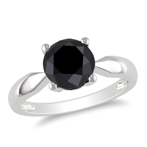 Miadora 10k White Gold 2 1/2ct TDW Black Diamond Solitaire Engagement Ring