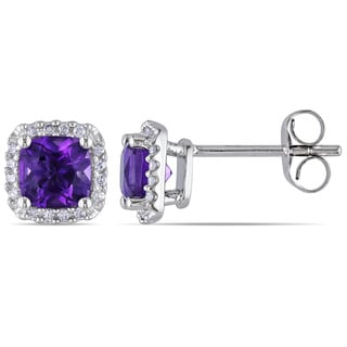 Miadora 10k White Gold Amethyst and 1/10ct TDW Diamond Earrings (H-I, I2-I3)