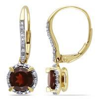 Miadora 10k Yellow Gold Garnet and 1/10ct TDW Diamond Earrings (H-I, I2-I3)