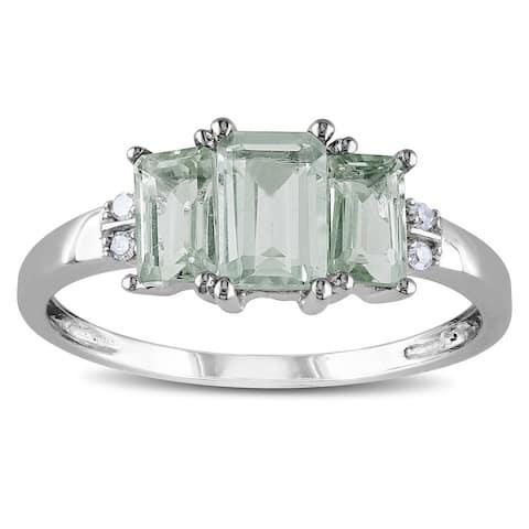 Miadora 10k White Gold Green Amethyst and Diamond Accent 3-stone Ring