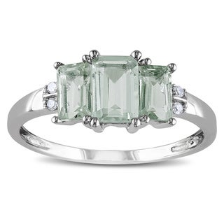 Miadora 10k White Gold Green Amethyst and Diamond Accent 3-stone Ring