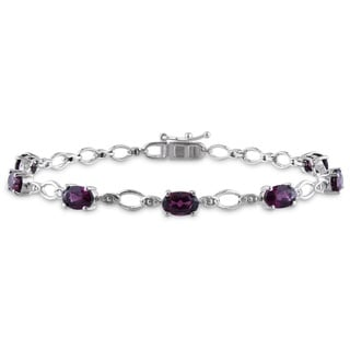 Miadora Sterling Silver 4ct TGW Rhodolite and Diamond Accent Bracelet