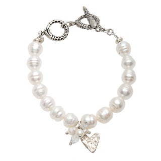 Sterling Silver Pearl Heart Charm and Crystal Bracelet (8-9 mm)
