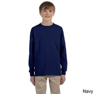Gildan Youth Ultra Cotton 6-ounce Long Sleeve T-shirt|https://ak1.ostkcdn.com/images/products/9108613/Gildan-Youth-Ultra-Cotton-6-ounce-Long-Sleeve-T-shirt-P16294863.jpg?impolicy=medium