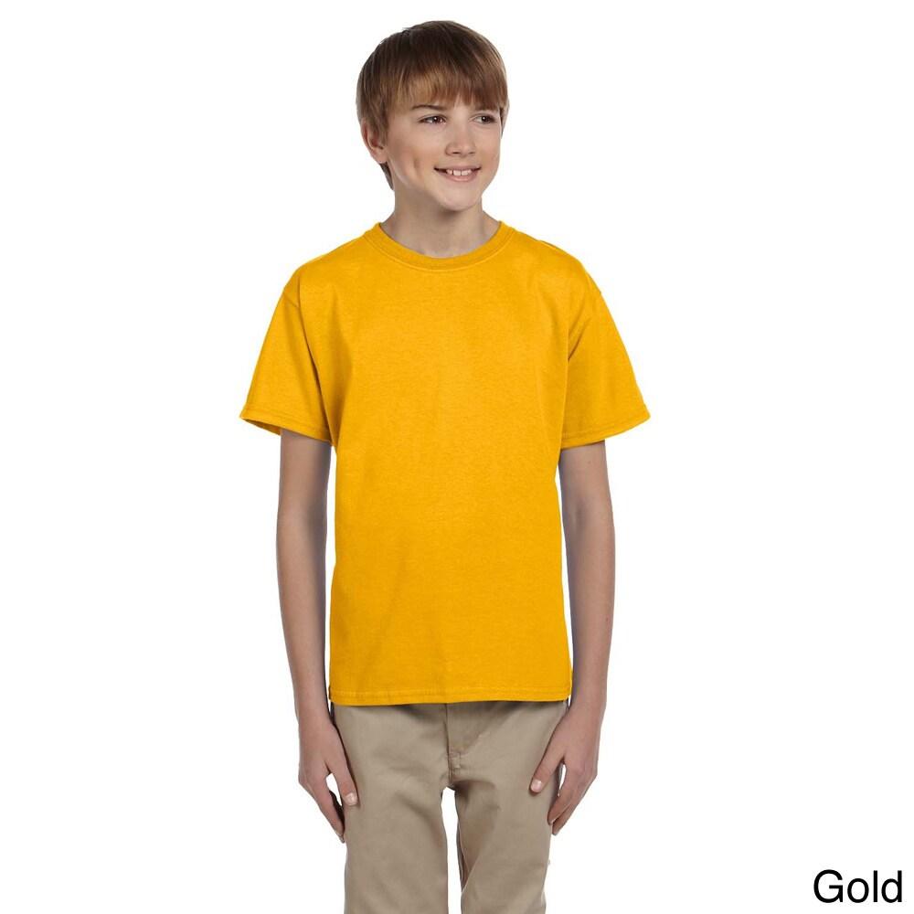 Gildan Gildan Youth Ultra Cotton 6 ounce T shirt Gold Size L (14 16)