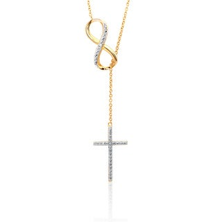 Sterling Silver Diamond Accent Infinity and Cross Y Necklace