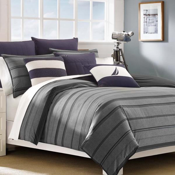 Shop Nautica Sebec Grey Stripe 3 Piece Cotton Duvet Cover