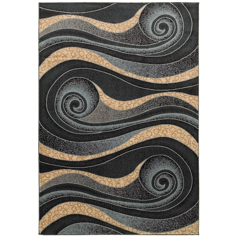 LR Home Adana Black and Blue Geometric Area Rug (7'9 x 9'9)
