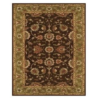 Grand Bazaar Tufted Wool Pile Hadfield Rug in Dark Brown/ Green (5' x 8')