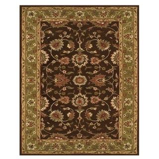 Grand Bazaar Tufted Wool Pile Hadfield Rug in Dark Brown/ Green (5' x 8') - 5' x 8'