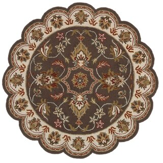 Transitional Hand Looped Brown Star Area Rug (4'9 x 4'9)
