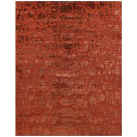 "Grand Bazaar Hand-knotted Wool & Art Silk Radiance Rug in Ruby 5'-6"" x 8'-6"" - 5'6"" x 8'6"""