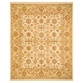 Grand Bazaar Hand-woven Wool Pile Silvia Rug in Ivory/ Light Gold (5'6 x 8'6)
