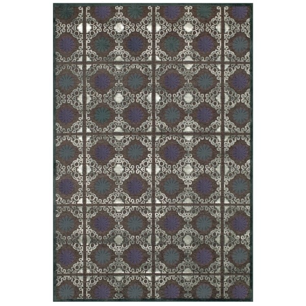 Grand Bazaar Viscose Laois Area Rug in Dark Gray/ Charcoal (5'3 x 7'6)