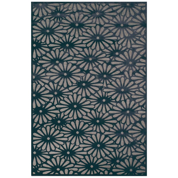 "Grand Bazaar Power Loomed Viscose Laois Rug in Gray/Charcoal 5'-3"" X 7'-6"""