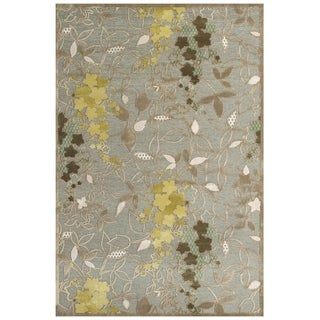 "Grand Bazaar Power Loomed Viscose Grayton Rug in Pewter / Sage 5'-3"" X 7'-6"" - 5'3"" x 7'6"""