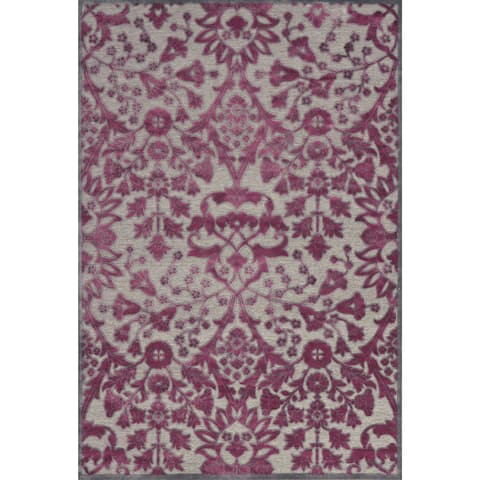 "Grand Bazaar Power Loomed Viscose Larache Rug in Pewter / Raspberry 5'-3"" X 7'-6"" - 5'3"" x 7'6"""