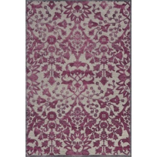Grand Bazaar Viscose Larache Area Rug in Pewter/ Raspberry (5'3 x 7'6)