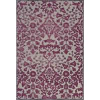 "Grand Bazaar Power Loomed Viscose Larache Rug in Pewter / Raspberry 5'-3"" X 7'-6"" - 5'-3"" x 7'-6"""