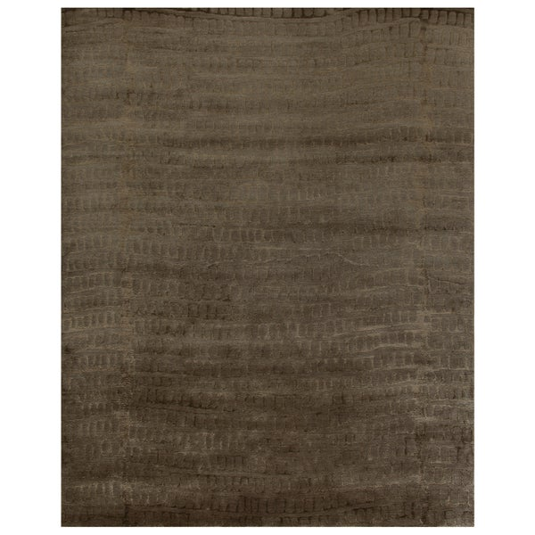 Grand Bazaar Hand-knotted Wool and Art Silk Radiance Area Rug in Slate (5'6 x 8'6)