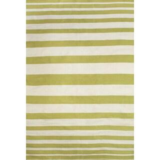 Grand Bazaar Hand Woven Polyester Salta Rug in Green / White 5' x 8'