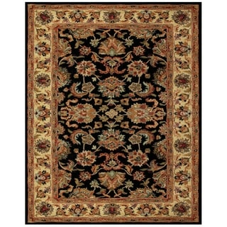 Grand Bazaar Tufted Wool Pile Adair Rug in Black/ Gold (5' x 8')